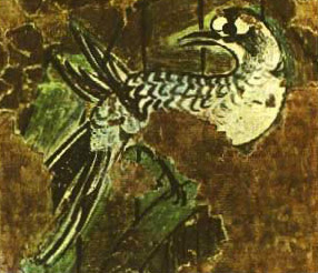 Painting of a bird from the area of the sunken garden