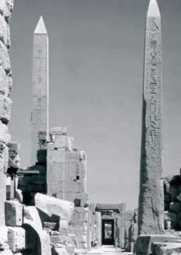 Looking through the Obelisk Court with the Obelisk of Tuthmosis in front and that of Hatshepsut beyond the ruins of the Fourth Pylon