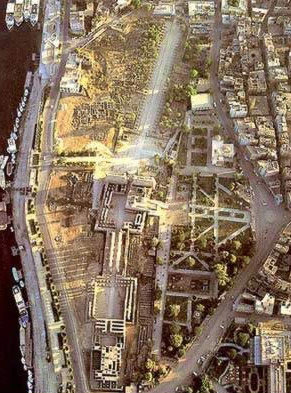 The orientation ofLuxor Temple is different than most in Egypt, pointing along the river towards Karnak, here with the first part of the processional way visible