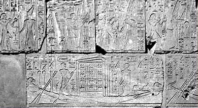 Detail from Hatshepsut's Chapel at Karnak depicting the barque procession on water