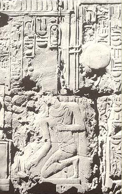 Amenhotep III kneels before Amun-Re to be crowned, as depicted on the barque sanctuary at Luxore temple