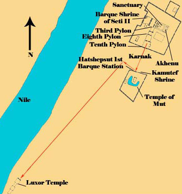 The land route of the Opet Festival heading to Luxor Temple