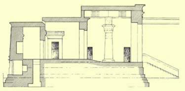 Line recreation of the Temple of Opet at Karnak