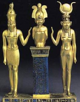 Gold and lapis lazuli triad of Osiris, Isis and Horus bearing the name of Osorkon II