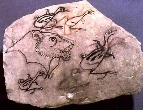 Ostracon (More or less crude art on Rocks) Of Animals dating to the New Kingdom