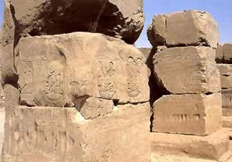 Some of the only stone blocks used in the temple of Osiris