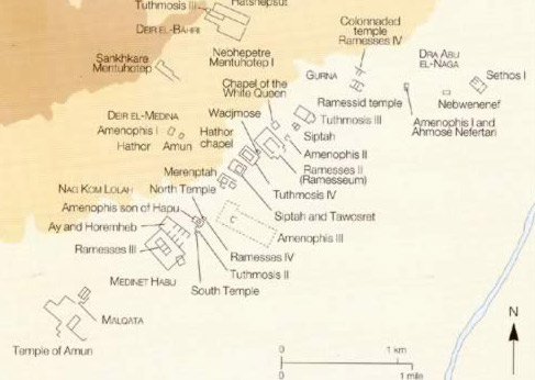 Map of the Temple area on the West Bank at Luxor (ancient Thebes), Egypt