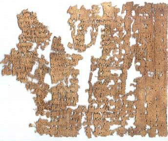 Highly fragmentary papyrus pieced back together