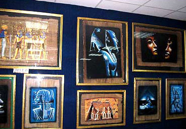 Various framed papyrus artwork