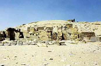 A view of the Mortuary Temple of The Pyramid of Pepi I at South Saqqara in Egypt