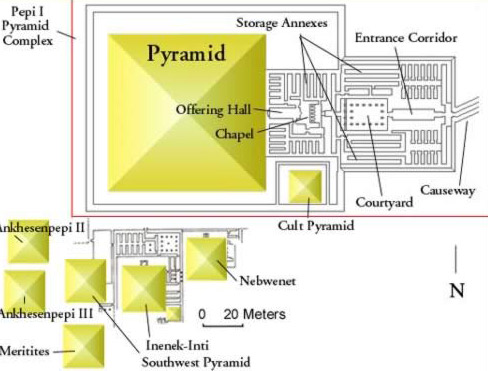Ground Plan of The Pyramids of Pepi I's Queens and Family at South Saqqara in Egypt