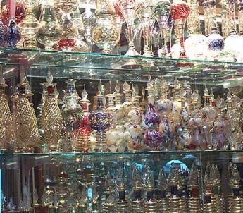 A display of Egyptian perfume bottles in the Khan el-Khalili