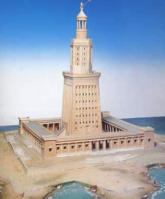 A model of the famous Pharos Lighthouse