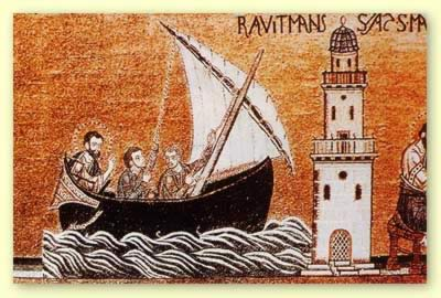Mosaic in St. Mark's basilica representing the saint arriving in Alexandria, showing the Pharos Lighthouse still standing and in use