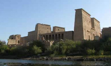 A view of the Temple of Isis on its current Island of Agilika