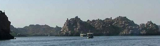 Tourist Boats on their way to visit the Temples of Philae in Egypt