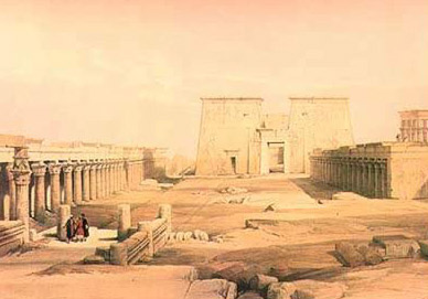 A David Roberts Painting of the approch to the Temple of Isis on old Philae Island