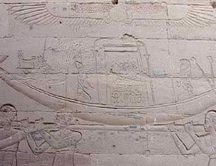 Priests carrying a sacred boat at Philae