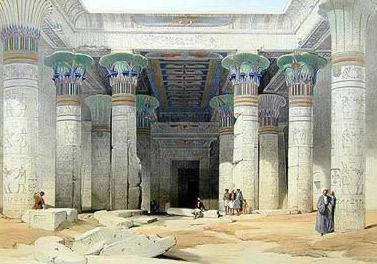 Painting of the small court and hypostyle hall in the Temple of Isis on Philae