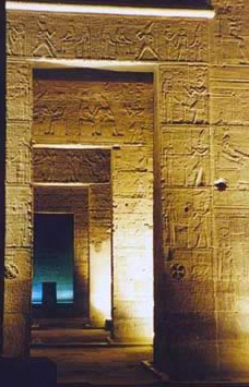A view through the vestibules into the sanctuary of the temple of Isis
