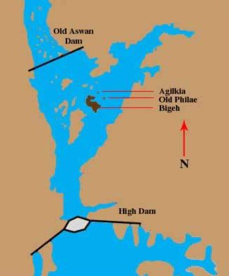 Map of the area including the High Dam, Aswan Dam, Agilika, Old Philae and Bigeh Islands