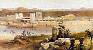 A view of Philae from Bigeh Island, painting by David Roberts