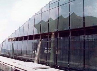 Glass curtain wall at entrance