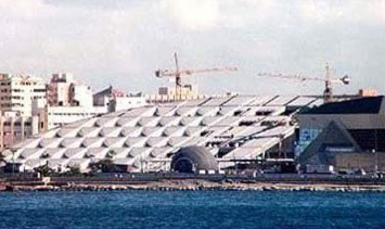 View of the Bibliotheca Alexandrina from Qait Bey Fort