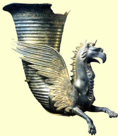Bronze Griffin Perfume Jar