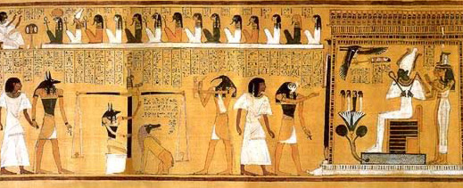 Judgment of the deceased in the Hall of Justice from the 19th Dynasty Book of the Dead of Hunefer