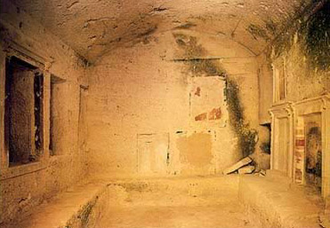 View of a tomb chamber with a painted Stelae at Plinthine