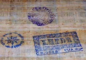 Modern shop stamps attesting to the authenticity of True Papyrus