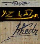 Artist's signatures: Top - Dr. Besheer Abdel-Salam, Middle - Yehya Zakaniya, Bottom - Khedr