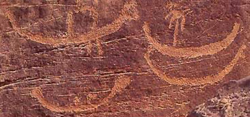 Rock carvings of boats at el-Hash about 60 miles south of Luxor