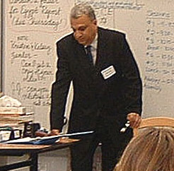 Ahmad Sharaf, who spent time in San Fransico, gives a lecture