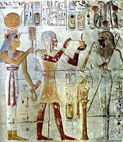 A priest makes offerings in ancient Egypt