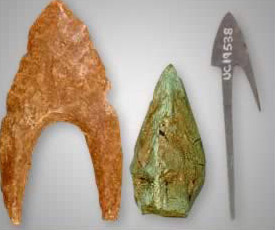 From left to right: Flint bifacial concave base arrowhead from the Fayoum; Bronze three sided triangular solid type arrowhead fount at Kafr Ammar dated to the Third Intermediate Period and Iron arrow head in a leaf shape with single long barbed tang found at Ibrim