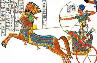 Ramesses II fires an arrow from his chariot