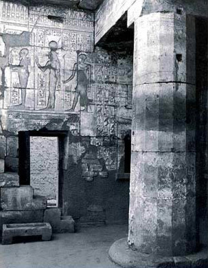North Wall of the first chambr with offering of cosmetics to Ptah, Hathor and Imhotep