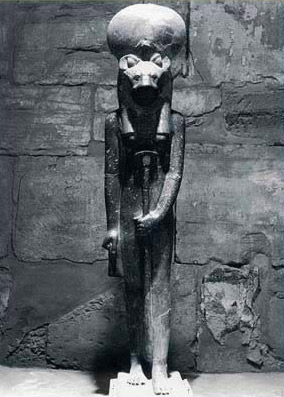 The famous statue of Sekhmet in her santuary in the Temple of Ptah at Karnak