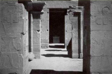 Looking through the doorways to the sanctuary of Ptah in the Temple of Ptah at Karnak