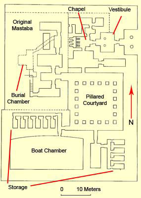 Floor plan of the funerary complex of Ptahshepses