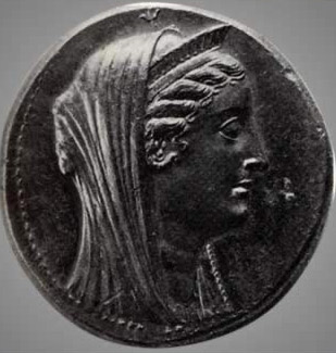 A coin depicting Arsinoe (II)