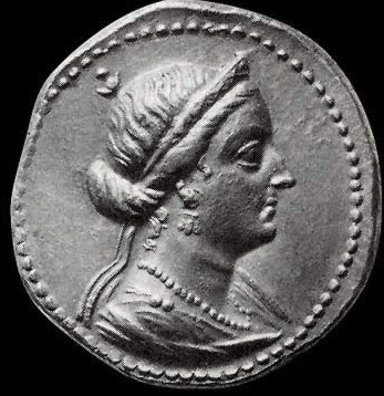A coin depicting the wife of Ptolemy IV Philopator, Arsinoe III