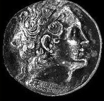 A coin depicting what is believed to be a somewhat older Ptolemy V