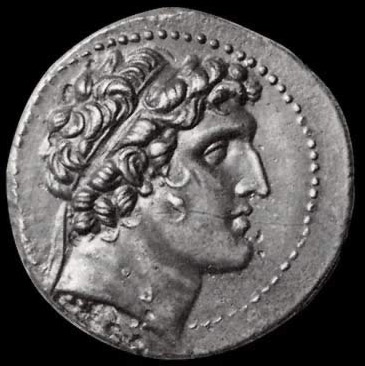 A coin bearing the image of Alexander Balas