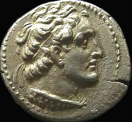 A ptolamaic coin depicting the bust of Ptolemy VIII