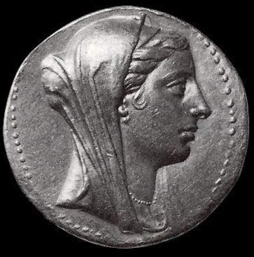 An image of Berenice II, the Wife of Ptolemy III on a coin