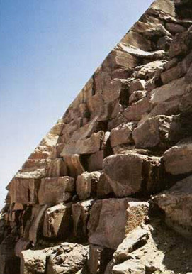 Casing and backing stones near the top of Khafre's Pyramid, showing that casing hid considerable irregularity in the core, packing and backing masonry
