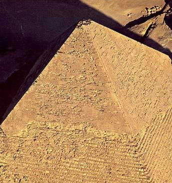 A view from above the Pyramid of Khafre at Giza in Egypt showing various layers of its composition
